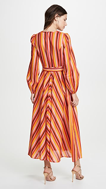 Zimmermann Goldie Rainbow Plunge Dress