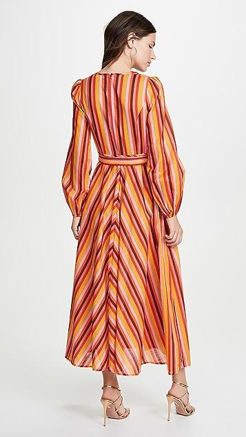 Zimmermann Goldie Rainbow 低 V 领连衣裙