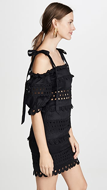 Zimmermann Verity Dot Off Shoulder Dress