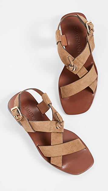 Zimmermann 交叠平底凉鞋