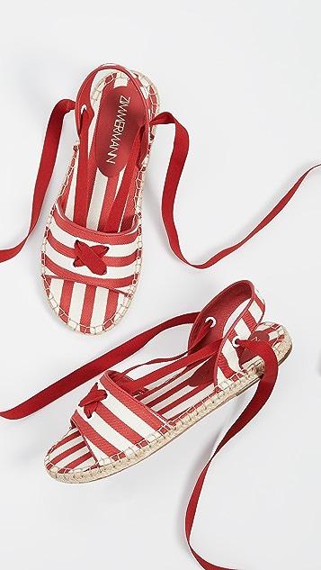 Zimmermann 绑带编织底凉鞋
