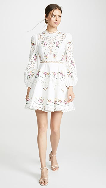 Zimmermann Allia Cross Stitch Short Dress