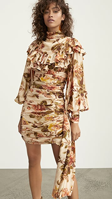 Zimmermann Resistance Ruffle Shoulder Mini Dress