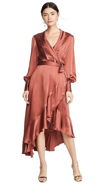 Zimmermann Шелковое миди-платье Espionage с запахом