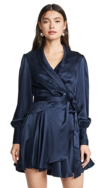 Zimmermann Espionage Silk Wrap Mini Dress