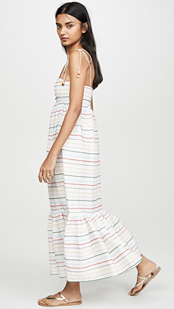 Zimmermann Zinnia 扇贝饰边条纹背心裙