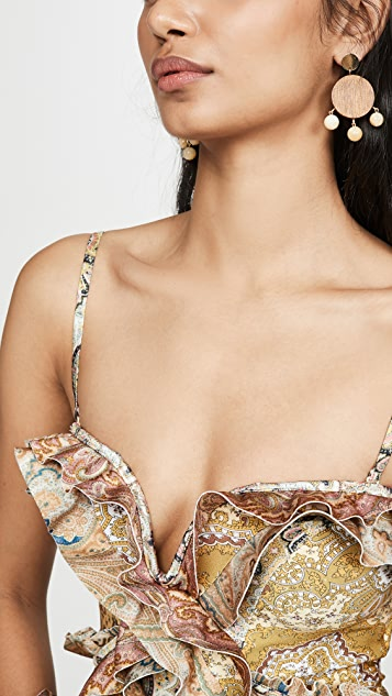 Zimmermann Freja Spliced Frill One Piece Swimsuit