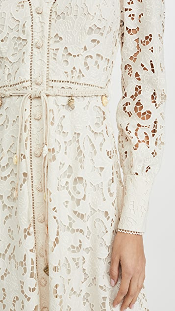 Zimmermann Freja Broderie Button Up Dress
