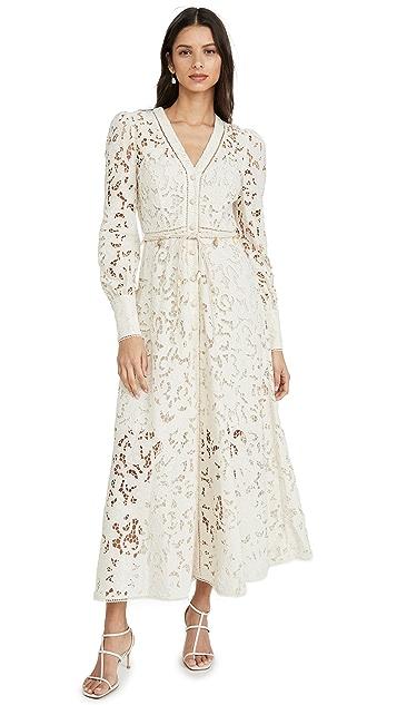 Zimmermann Платье на пуговицах Freja с вышивкой