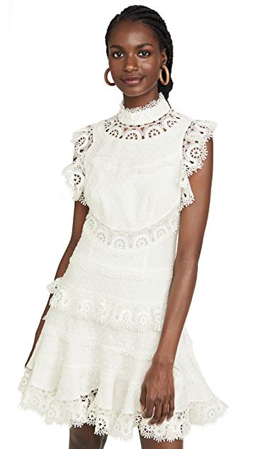 Zimmermann Peggy Embroidered Trim Short Dress