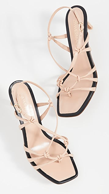 Zimmermann Knotted Strap Heeled Sandals