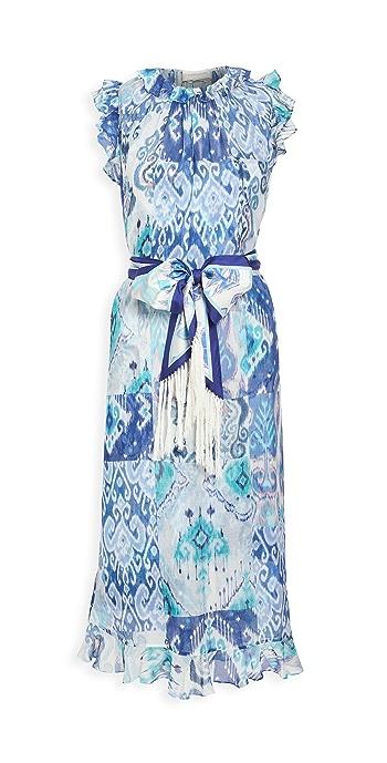 Zimmermann Glassy Ruffle Shoulder Dress - Blue Ikat Patch
