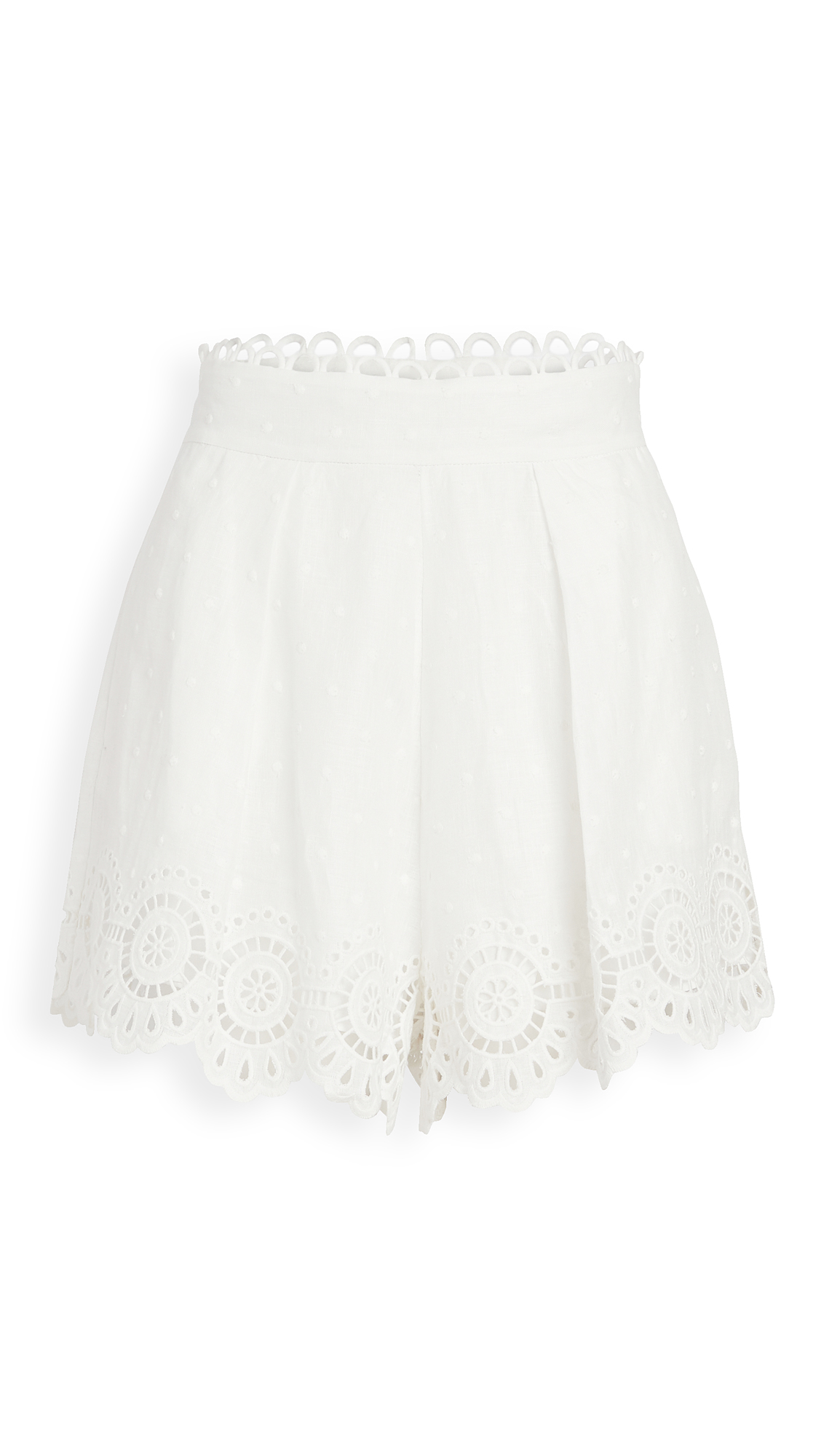 Zimmermann Bellitude Scallop Linen Shorts