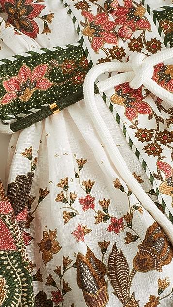 Zimmermann Empire Batik Linen Short Dress