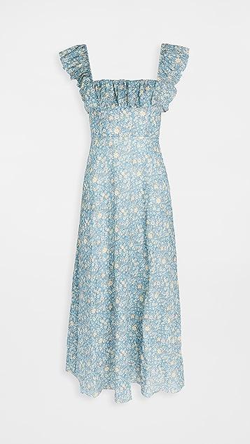 Zimmermann Carnaby Ruffle Neck Long Dress