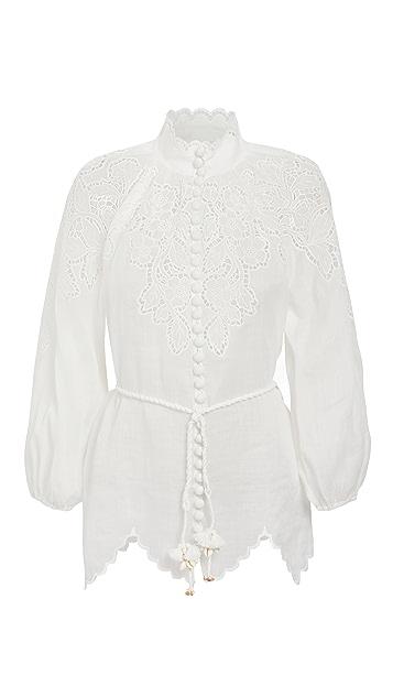 Zimmermann Carnaby 扇贝饰边女式衬衫