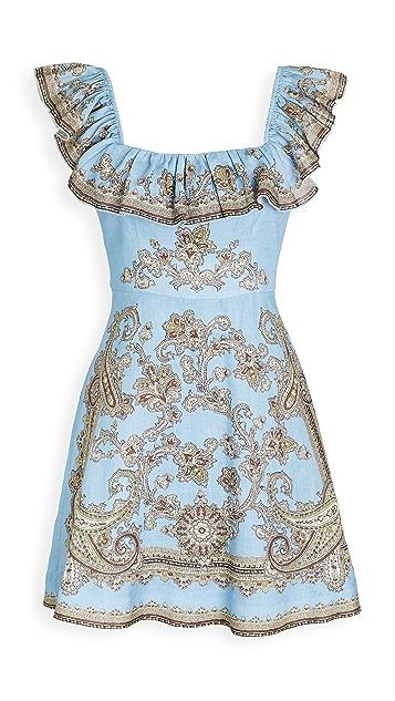 Zimmermann Fiesta Ruffle Neck Linen Short Dress