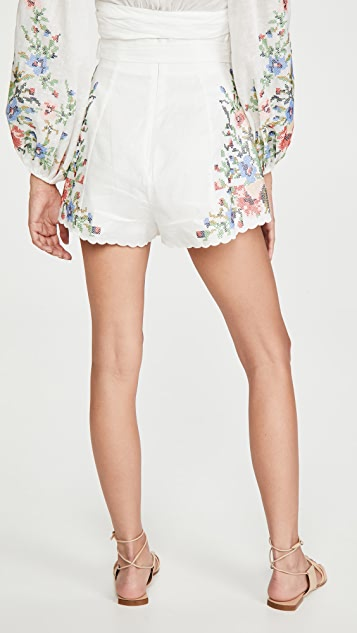 Zimmermann Juliette Cross Stitch Shorts