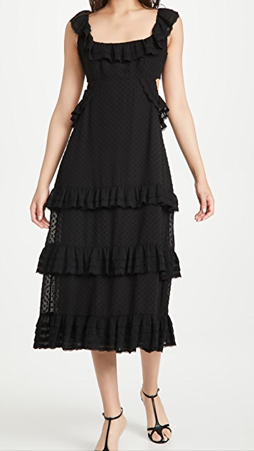 秋季新品上线 裥褶蕾丝荷叶边中长连衣裙