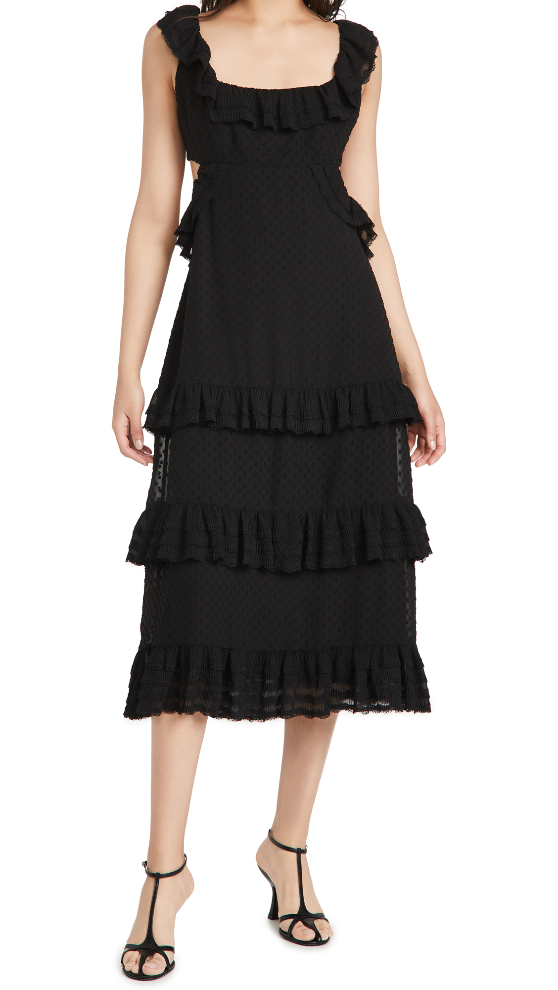 Zimmermann Pleated Lace Flutter Midi Dress