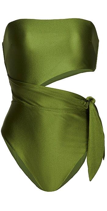 Zimmermann Brighton Scarf Tie Swimsuit - Khaki
