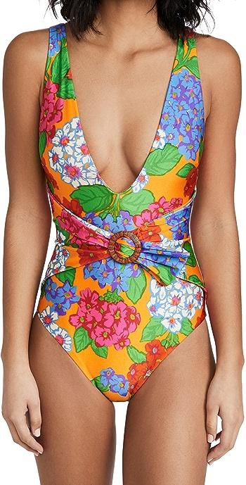Zimmermann Riders Buckle Plunge One Piece Swimsuit - Mango Floral