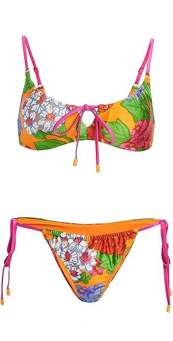 Zimmermann Riders Draw Cord Bikini - Mango Floral