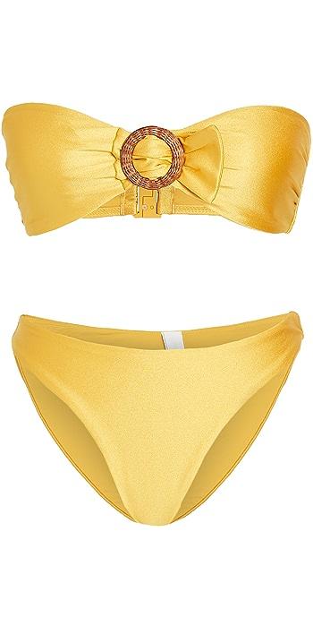 Zimmermann Brighton Buckle Bandeau Bikini Set - Sulphur