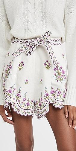 Zimmermann - Poppy Floral Scallop Shorts