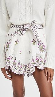 Zimmermann Poppy Floral Scallop Shorts