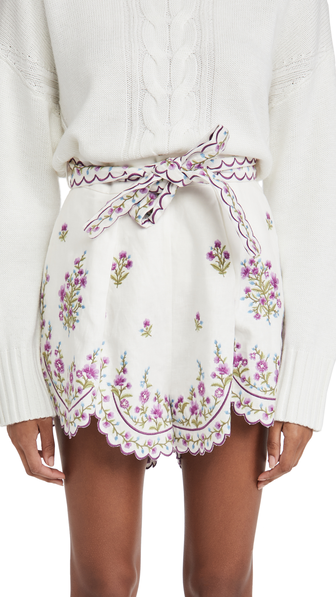 Zimmermann Poppy Floral Scallop Shorts