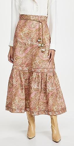 Zimmermann - Brighton Frill Hem Midi Skirt