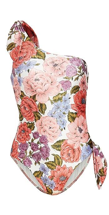 Zimmermann Poppy Tie Shoulder One Piece - Crimson Floral