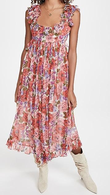 Zimmermann Poppy Frill Edge Midi Dress