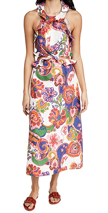 Zimmermann The Lovestruck Tie Back Midi Dress - Natural Paisley Floral