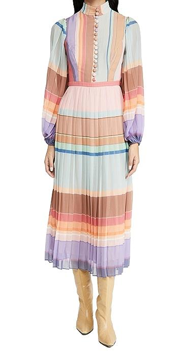 Zimmermann Pleated Long Sleeve Midi Dress - Rainbow Stripe