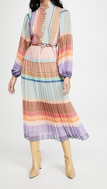 秋季新品上线 褶皱长袖中长连衣裙