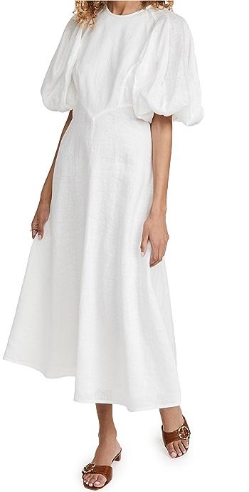Zimmermann Linen Day Midi Dress - Natural