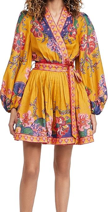 Zimmermann The Lovestruck Wrap Mini Dress - Gold Paisley Floral