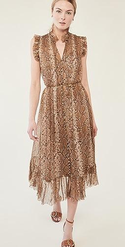 Zimmermann - 植物蟒蛇纹裙摆中长连衣裙
