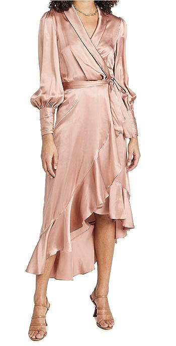 Zimmermann Silk Wrap Midi Dress - Lipstick