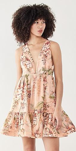 Zimmermann - Candescent Plunge Neck Mini Dress