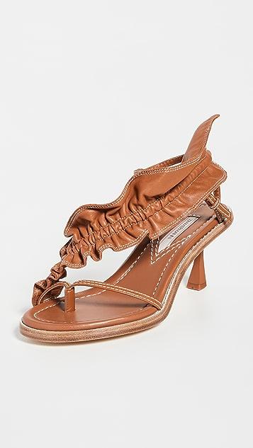 Zimmermann Skinny Strap Ruffle Heel Sandals