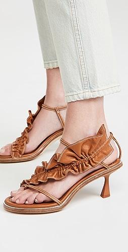 Zimmermann - Skinny Strap Ruffle Heel Sandals