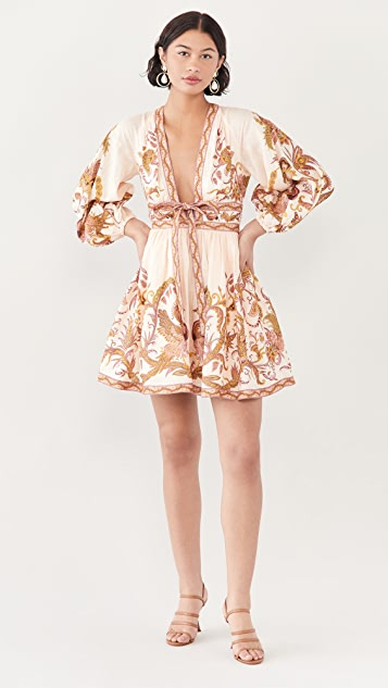 Zimmermann Cassia Plunge Bow Mini Dress