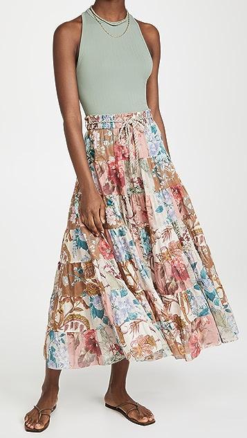 Zimmermann Cassia Patch Midi Skirt