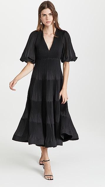 Zimmermann 褶皱长袖中长连衣裙
