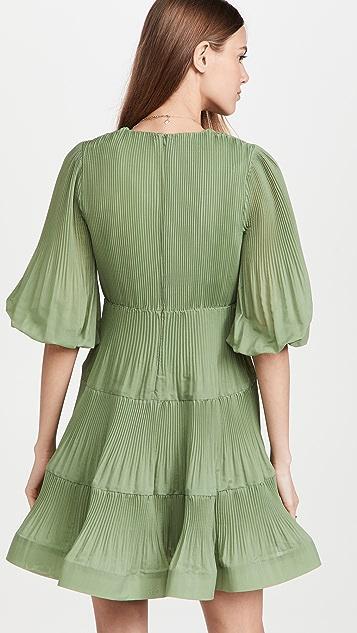 Zimmermann Pleated Long Sleeve Mini Dress