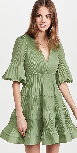 Zimmermann - Pleated Long Sleeve Mini Dress