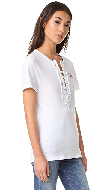 Zoe Karssen Nope Lace up Boyfriend Tee